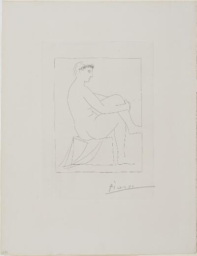 Suite Vollard, 1939, Paris: Seated Nude Crowned with Flowers, Legs Crossed