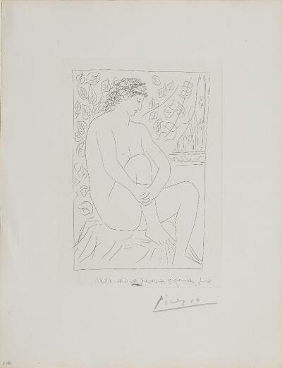 Suite Vollard, 1939, Paris: Nude Seated Before a Curtain