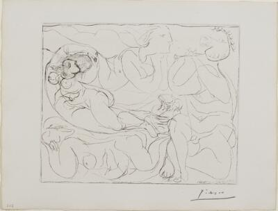 Suite Vollard, 1939, Paris: Flutist and Three Nudes (Three Nudes and a Satyr Playing the Flute)
