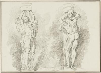 Study After Ludovico Carracci: Two Groups of Caryatids (from the Cloister of San Michele, Bosco)