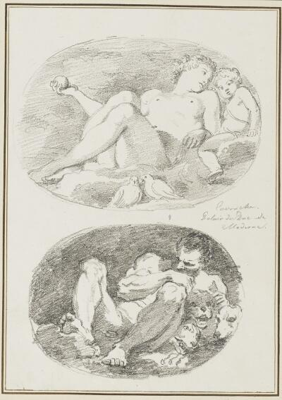 Study After Annibale Carracci: Venus and Cupid (from the Galleria Estense);  Study After Agostino Carracci: Pluto and Cerberus (from Galleria Estense)
