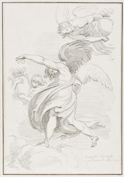 Study After Ludovico Carracci: Angels (from the Choir Vault of the Piacenza Cathedral)