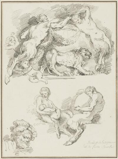 Study after Giovanni Benedetto Castiglione: Four Groups of Fauns (from the Collection of Console Smith)