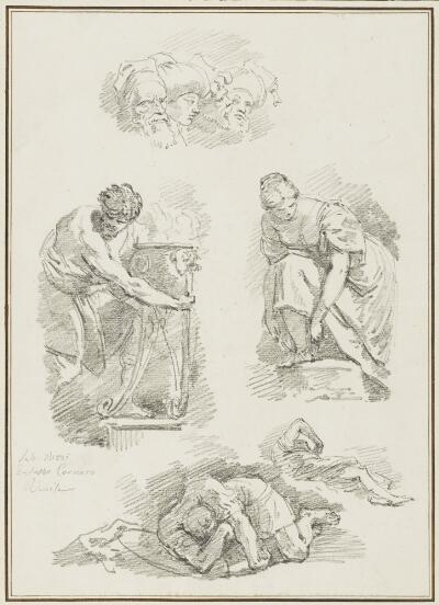 Study After Giovanni Battista Tiepolo: Four Heads (from the Meeting of Anthony and Cleopatra, Palazzo Labia); Study After Sebastiano Ricci: Sheet of Three Figure Studies (unidentified works of Sebastiano Ricci)
