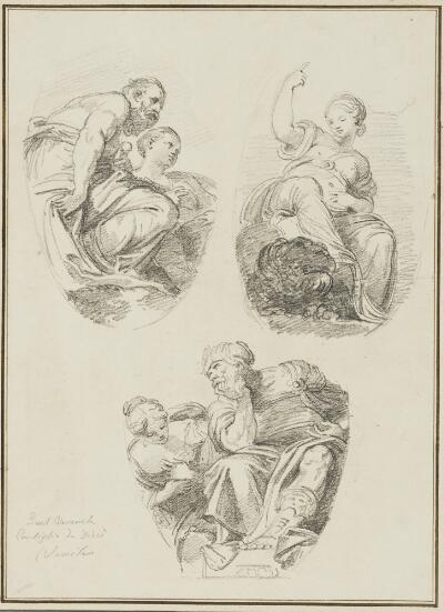 Study After Giambattista Zelotti:  Jupiter and Juno and Venice and the Lion of St. Mark (from Ducal Palace, ceiling of the Council of Ten); Study after Paolo Veronese