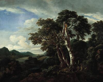 Three Great Trees in a Mountainous Landscape with a River