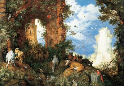 Landscape with Ruins and Animals