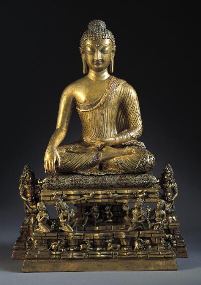 Buddha Shakyamuni and Adorants on Mount Meru