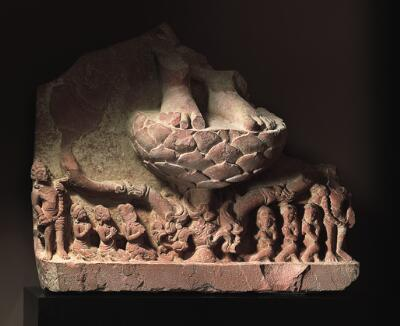 Base of a Buddha Image with Adorants