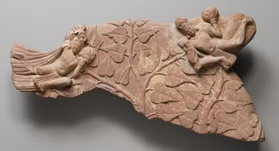 Nimbus Fragment with Celestial Beings and Bodhi Tree