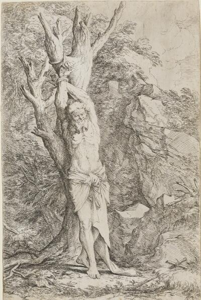 The Works of Salvator Rosa: Albert, Companion of St. Willima, Tied to a Tree