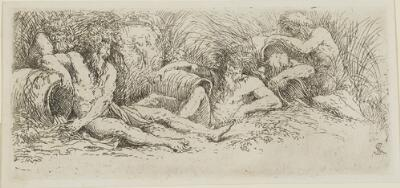 The Works of Salvator Rosa: Five River Gods I, Three Conversing in the Foreground