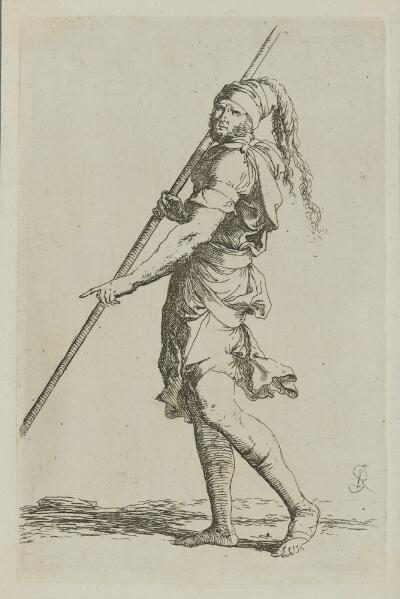 The Works of Salvator Rosa: Soldier Holding a Long Cane with Both Hands, Walking Toward the Left