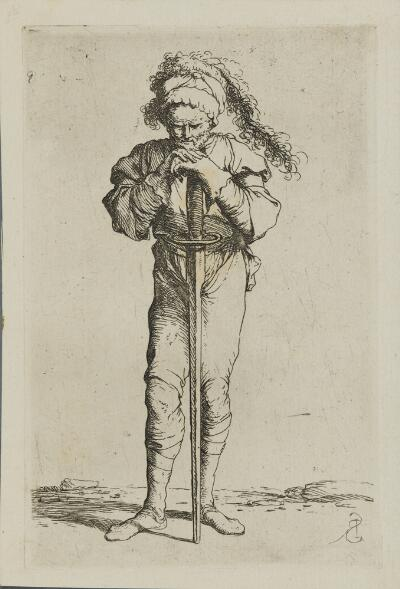 The Works of Salvator Rosa: Solider Holding a Long Sword with Both Hands