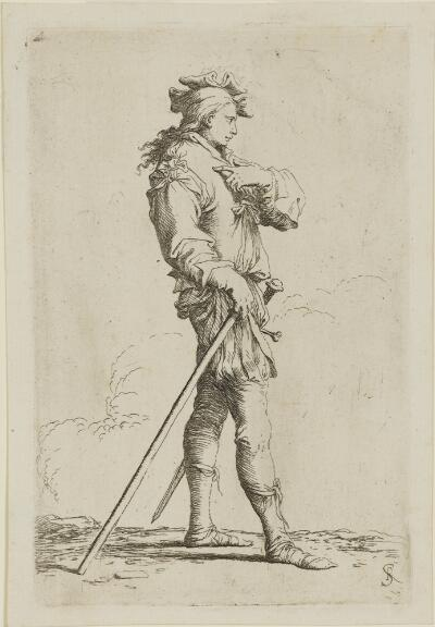 The Works of Salvator Rosa: Soldier in Profile with Sword and Cane, Facing Right
