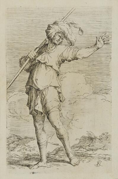 The Works of Salvator Rosa: Solider Carrying a Cane, Striding Toward the Left
