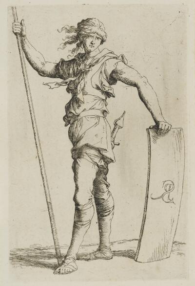 The Works of Salvator Rosa: Solider Holding a Cane and His Shield, Facing Left