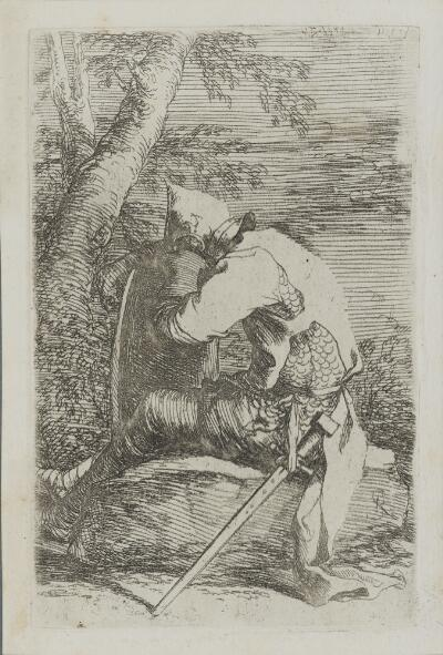 The Works of Salvator Rosa: Seated Soldier Leaning on His Shield