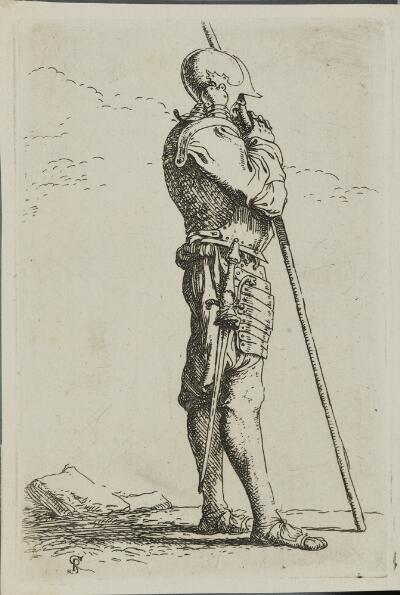 The Works of Salvator Rosa: Solider Supported by a Long Cane, Facing Right