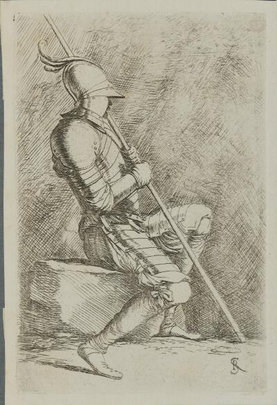 The Works of Salvator Rosa: Soldier Seated, in a Helmet, Holding a Cane