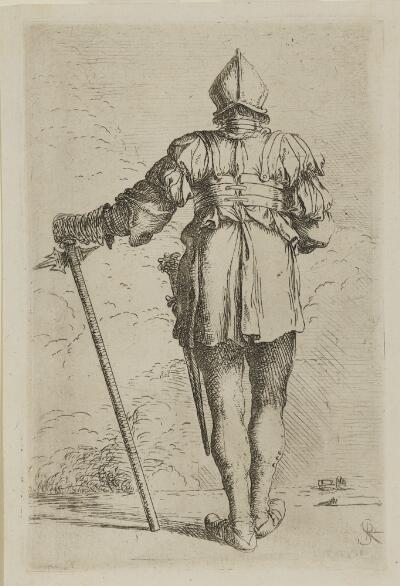 The Works of Salvator Rosa: Soldier Standing, Seen from Behind, in a Helmut, Holding a Cane