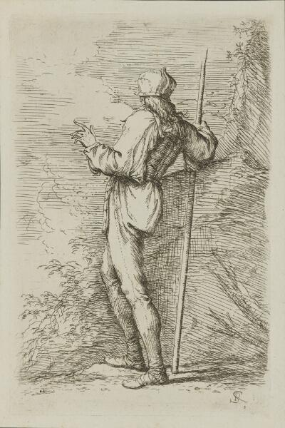 The Works of Salvator Rosa: Soldier, Standing, Holding a Long Cane Before a Rocky Wall