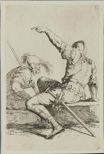 The Works of Salvator Rosa: Two Soldiers Seated on a Rectangular Stone