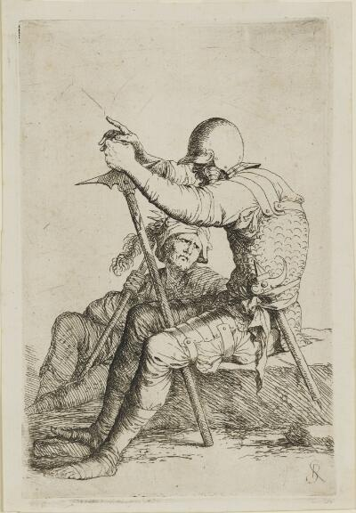 The Works of Salvator Rosa: Two Soldiers Seated, One on a Stone, Other on the Ground