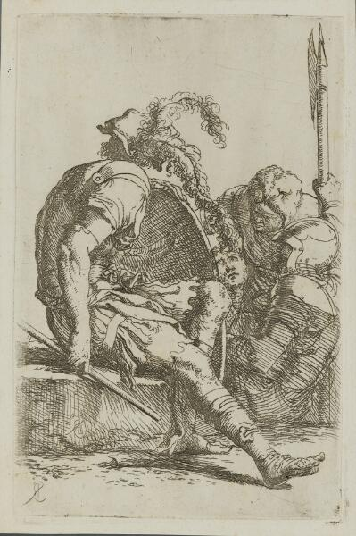 The Works of Salvator Rosa: Four Soldiers, One Seated on a Stone at the Left