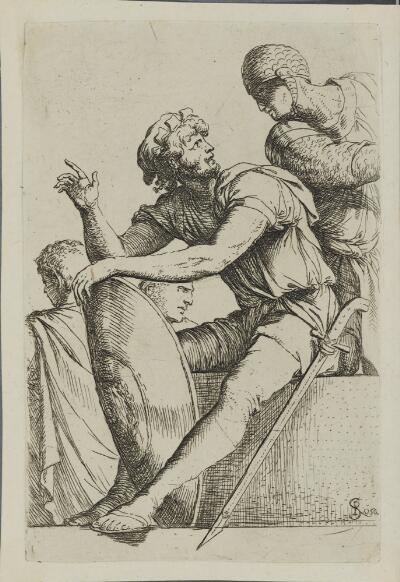 The Works of Salvator Rosa: Seated Soldier with Shield and Two Other Figures