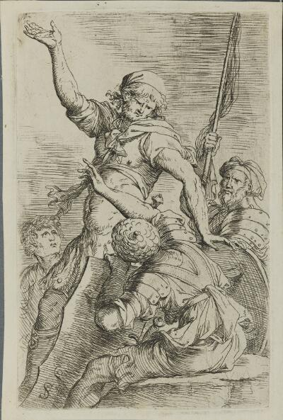 The Works of Salvator Rosa: Four Soldiers, One with Flag