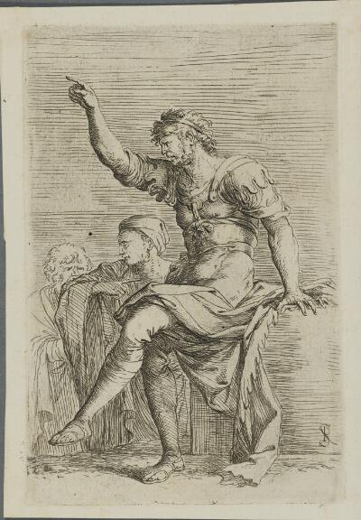 The Works of Salvator Rosa: Two Soldiers, One with His Hand Raised, Pointing Toward the Left