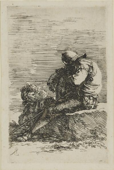 The Works of Salvator Rosa: Two Soldiers, One Seated on a Ledge, Holding a Cane