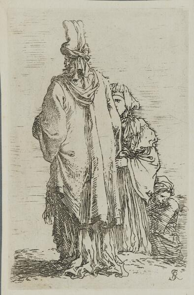 The Works of Salvator Rosa: Oriental in Turban, Seen from Behind, with Two Woman
