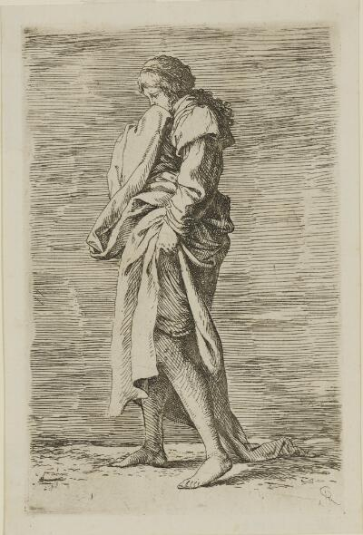 The Works of Salvator Rosa: Young Woman, Walking Toward the Left