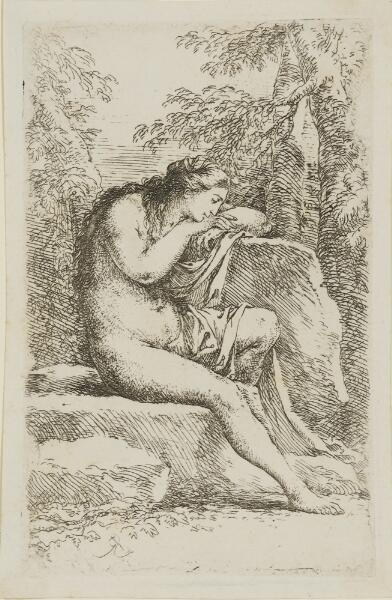 The Works of Salvator Rosa: Nude in Contemplation, Seated on a Rocky Ledge