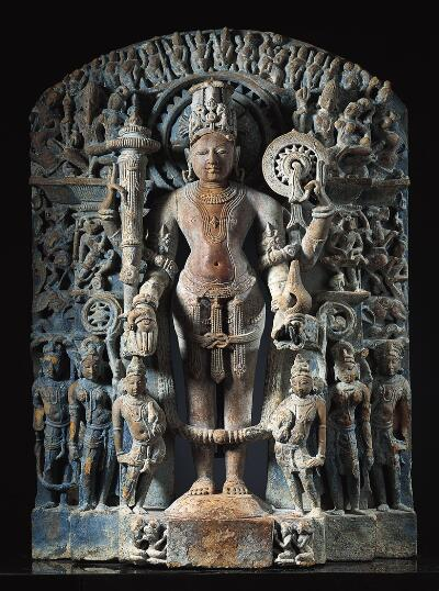 Stele with Vishnu and Other Hindu Deities