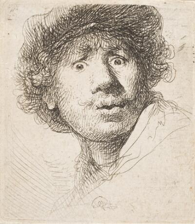 Self-Portrait in a Cap, Open Mouthed