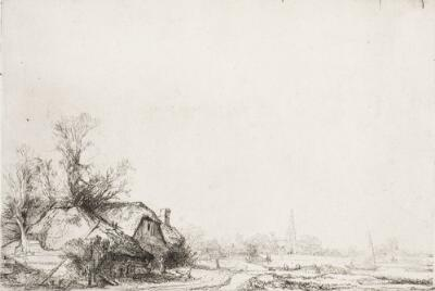 Cottages Beside a Canal:  a View of Diemen