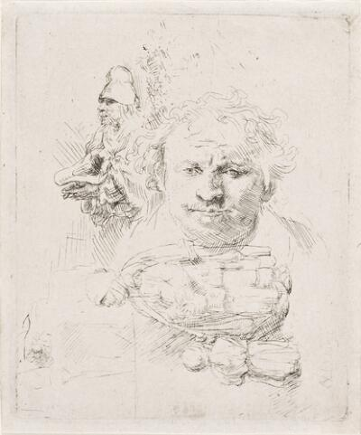 Sheet of Studies with the Head of the Artist, a Beggar Man, Woman and Child