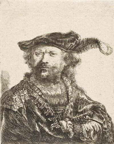 Rembrandt in Velvet Cap and Plume, with an Embroidered Dress:  Bust