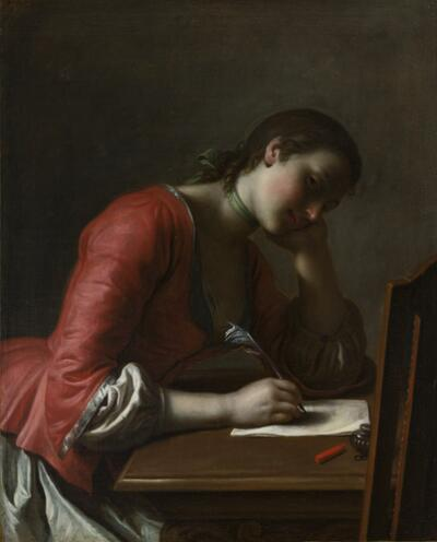 Young Girl Writing a Love Letter