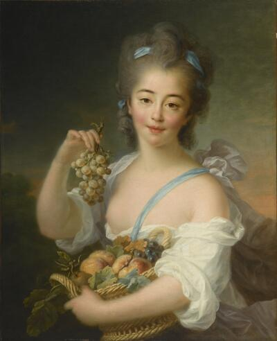 Young Girl Holding a Basket of Fruit