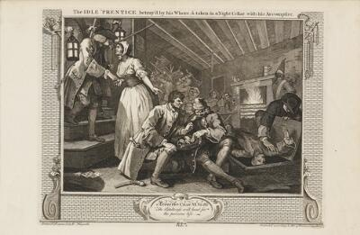 Industry and Idleness: The Idle 'Prentice Betray'd by His Whore, and Taken in a Night Cellar with His Accomplice