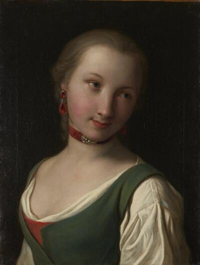Portrait of a Woman with Green Vest, White Blouse and Red Choker