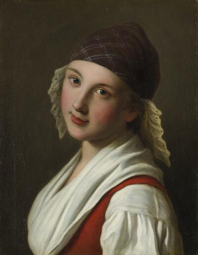 Portrait of a Woman with Plaid Scarf with Lace Trim, Red Vest & White Blouse
