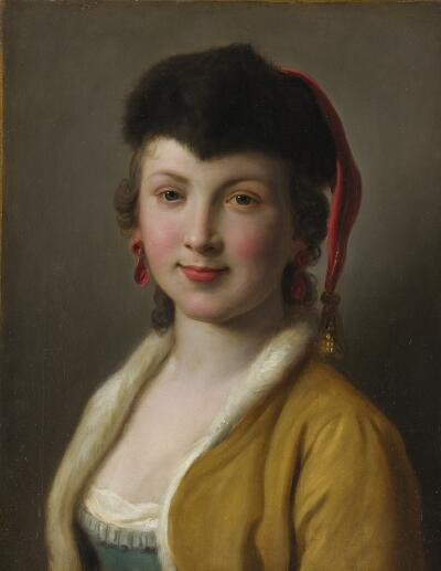 Portrait of a Woman with Gold Jacket, Fur Hat with Gold Tassel