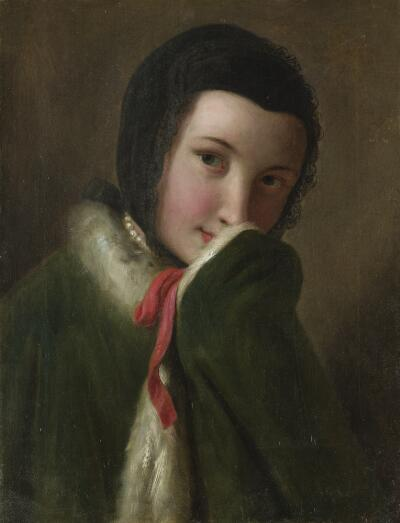 Portrait of a Woman with Black Lace Scarf, Green Coat with White Fur