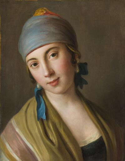 Portrait of a Woman with Blue Scarf and Striped Shawl