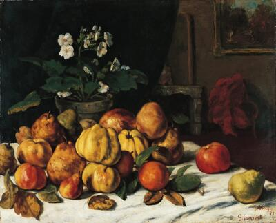 Apples, Pears, and Primroses on a Table